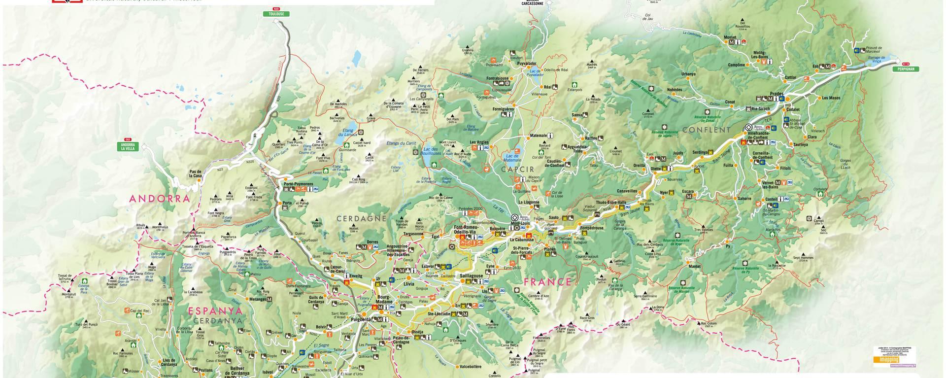 Kaart van de Pyrénées Catalanes