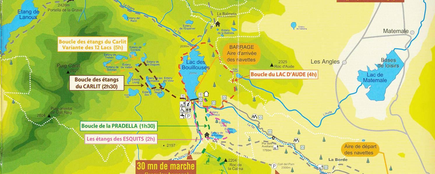 Kaart van het gebied rondom het Lac des Bouillouses