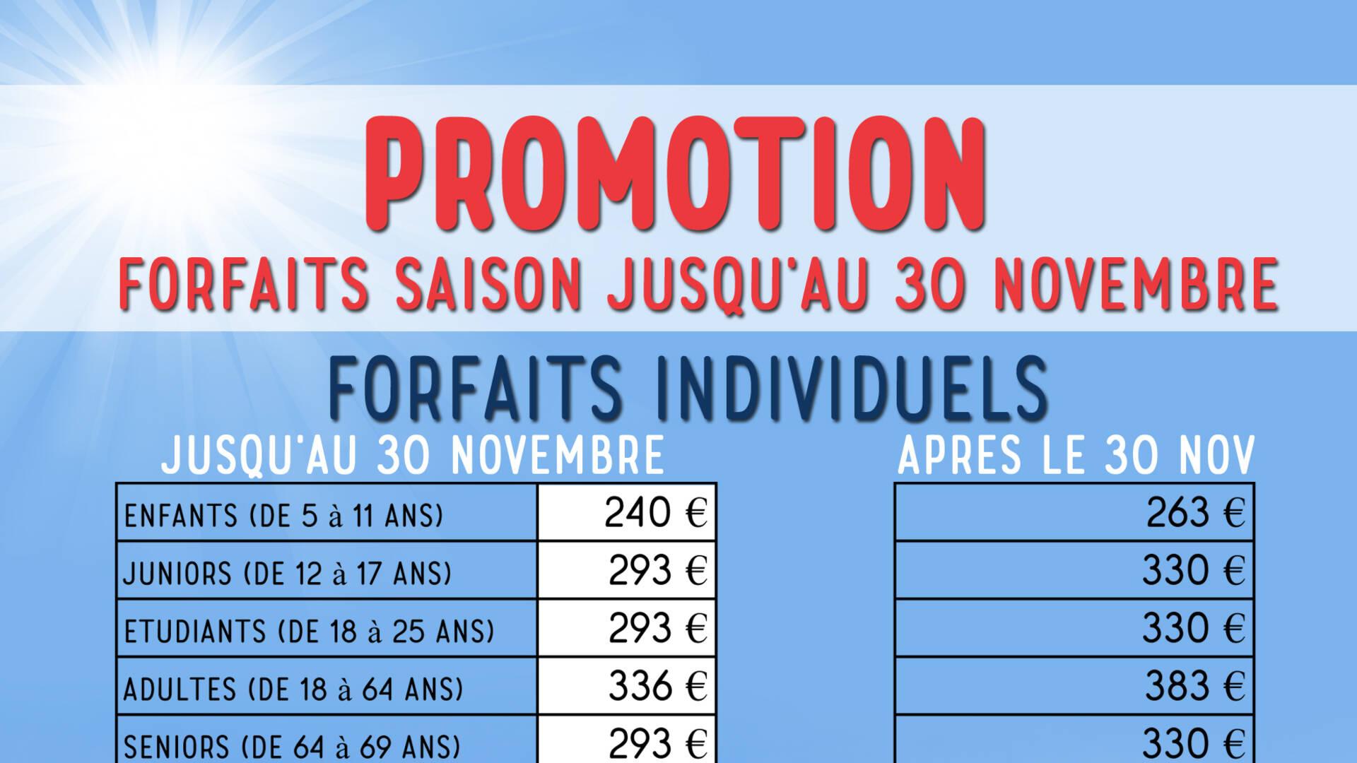 liste despromotions forfaits saison Porté-Puymorens