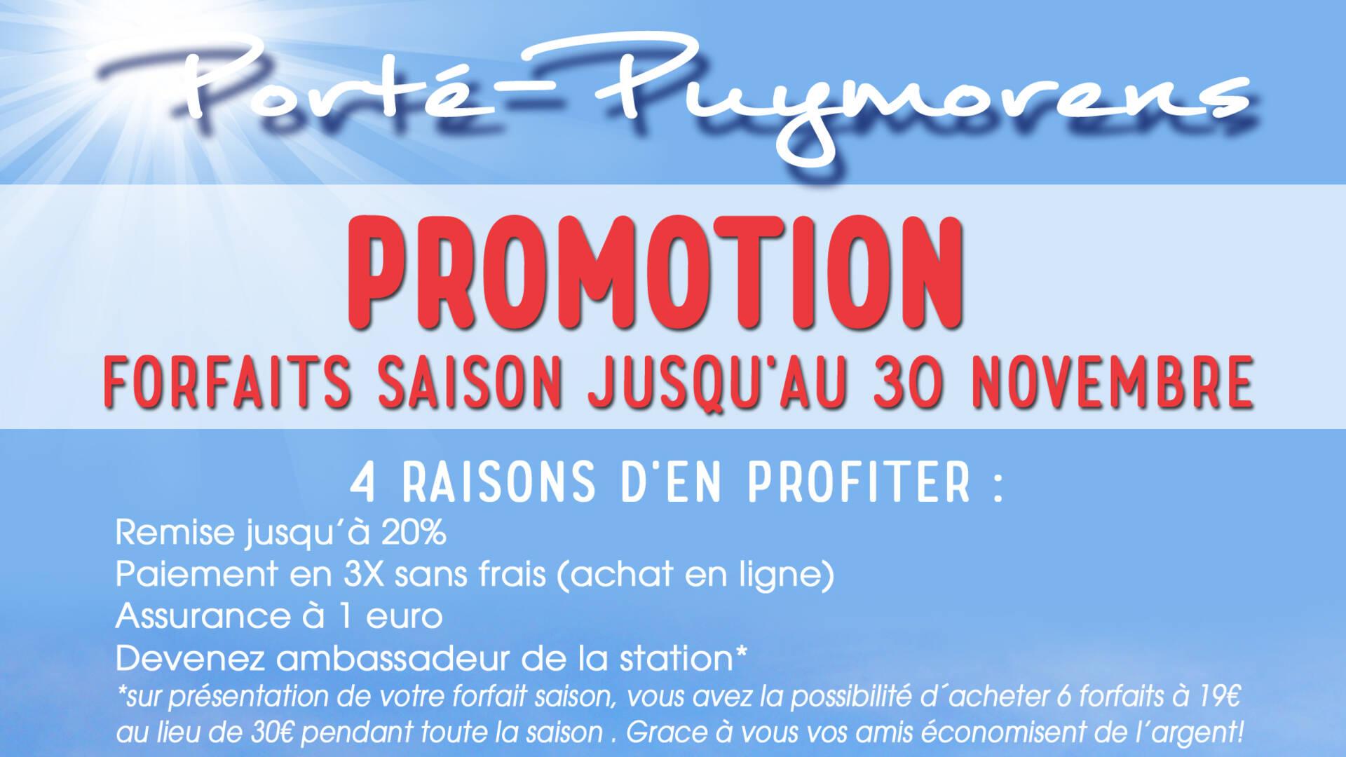 Promotion forfaits saison Porté-Puymorens