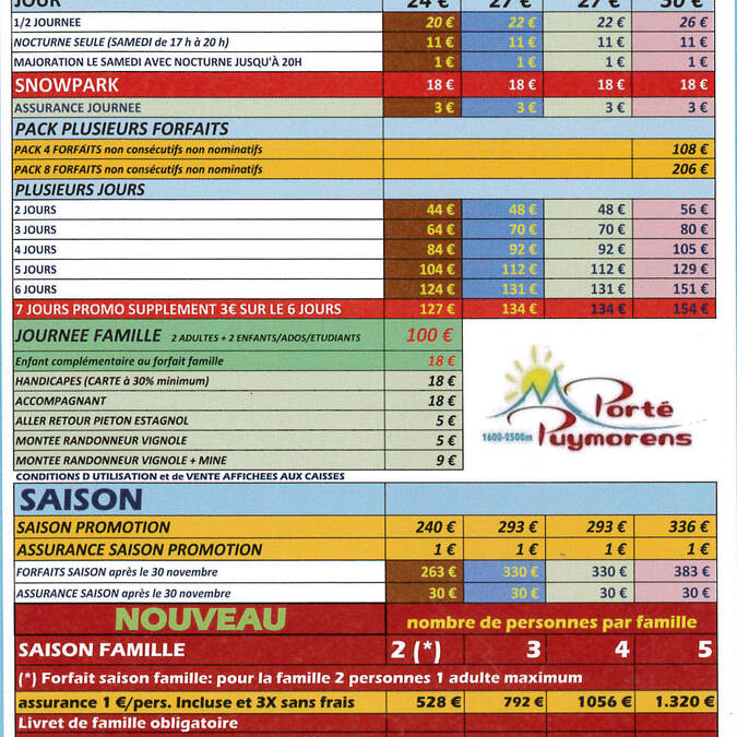 Ski-oord Porté-Puymorens tarieven 2015-2016
