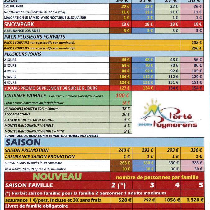 Tarifs 2015-2016